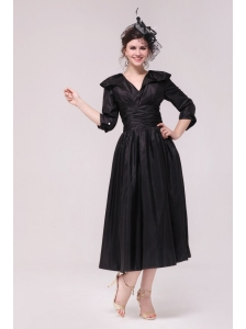 A-line V neck Black Tea-length Ruching Prom Dress with Half Sleeves