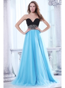 Beaded Decorate Waist Sweetheart Black and Aqua Blue Prom Dress