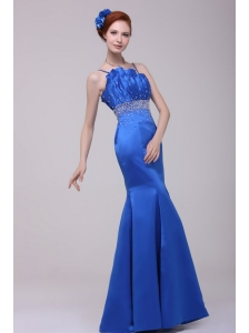 Beautiful Column Blue Straps Floor-length Taffeta Prom Dress with Beading