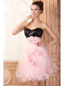 Black and Pink Sweetheart Hand Made Flowers Mini-length Prom Dress