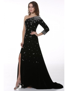 Black Beaded High Slit One Shoulder Prom Dress with 3/4 Length Sleeves
