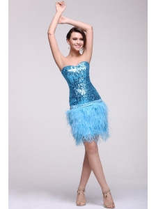 Blue Sequined Prom Dress with Sweetheart Knee-length