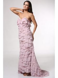 Brush Train Baby Pink Sweetheart Prom Dress with Appliques and Layers