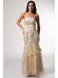 Champagne Mermaid Strapless Prom Dress with Flowers and Beading