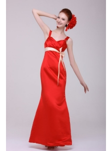 Cheap Column Straps Floor-length Taffeta Sashs Red Prom Dress