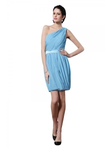 Column Light Blue One Shoulder Ruching Belt Mini-length Prom Dress
