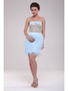 Column Light Blue Sweetheart Feather Sequins Satin Prom Dress