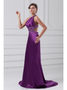 Column One Shoulder Brush Train Elastic Woven Satin Beading Purple Prom Dress