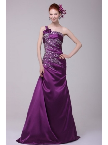 Column One Shoulder Lace Up Floor-length Beading Taffeta Purple Prom Dress