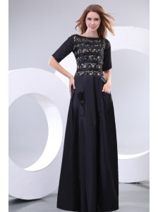 Column Scoop Black Floor-length Lace Prom Dress with Half Sleeves