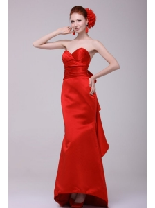 Column Sweethear Floor-length Taffeta Red Prom Dress with Ruching