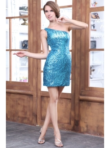 Column Teal Blue One Shoulder Sequin Short Prom Dress