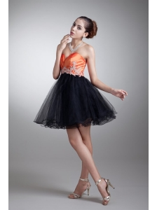 Cute A-line Sweetheart Orange Mini-length Tulle Appliques Prom Dress