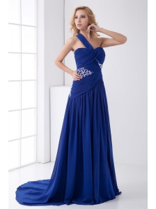 Elegant Empire One Shoulder Brush Train Beading Criss Cross Chiffon Blue Prom Dress