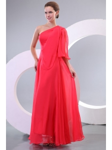 Empire One Shoulder Floor-length 3/4 Sleeve Prom Dress in Coral Red