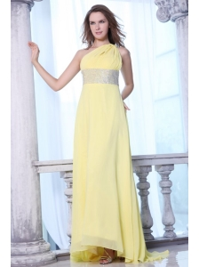 Empire One Shoulder Yellow Chiffon Beaded Decorate Waist Prom Dress