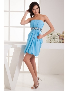 Empire Strapless Blue Chiffon Mini-length Prom Dress