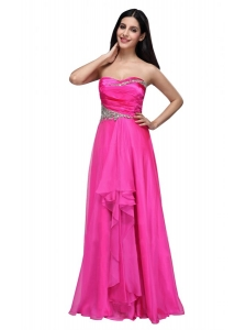 Empire Sweetheart Beading and Ruching Chiffon Hot Pink Prom Dress