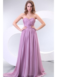Empire Sweetheart Lilac Chiffon Ruche Prom Dress with Watteau Train
