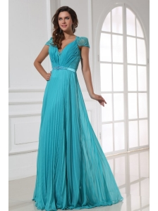 Empire V-neck Floor-length Beading Cap Sleeves Prom Dress with Pleats