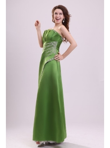 Green Column Strapless Satin Beading Prom Dress with Lace Up