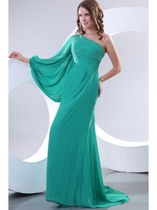 Green One Shoulder Long Sleeve Beaded Decorate Prom Dress for 2014