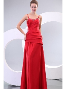 Inexpensive Column Straps Floor-length Beading and Ruching Lace Up Prom Dress in Red