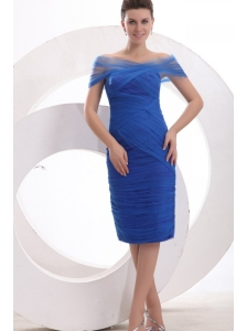 Knee-length Column Off The Shoulder Prom Dress in Blue