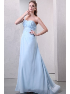 Light Blue One Shoulder Empire Chiffon Prom Dress with Appliques