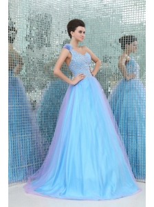 Lovely Princess One Shoulder Beading Tulle Floor-length Blue Prom Dress