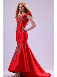Mermaid Red One Shoulder Embroidery with Beading Prom Dress