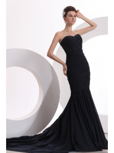 Mermaid Sweetheart Black Chiffon Beaded Decorate Prom Dress for Women