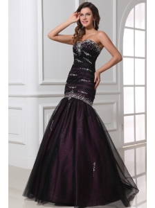 Mermaid Sweetheart Purple Tulle 2014 Perfec Prom Dress with Beading