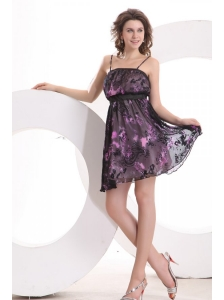 Mulit-color Spaghetti Straps Mini-length Printing Prom Dress