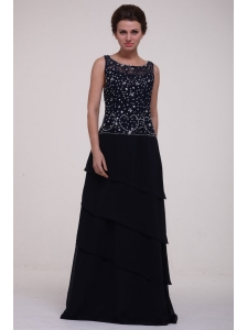 Navy Blue Scoop Prom Dress with Beading and Layers