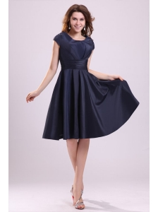 Navy Blue Scoop Short Prom Dress with A-line Knee-length