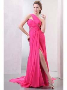 One Shoulder Hot Pink Chiffon Appliques Watteau Train Prom Dress