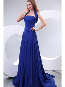 Popular Empire Strapless Chiffon Ruche Prom Dress in Royal Blue