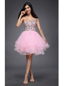 Princess Baby Pink Sweetheart Beading Organza Knee-length Prom Dres