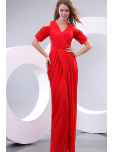 Red Column V-neck Floor-length Short Sleeves Prom Dress with Silt