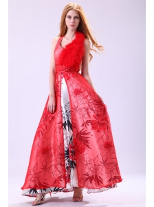 Red Empire Halter Long Beading Chiffon 2014 Prom Dress