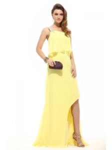 Simple Column Light Yellow One Shoulder Beading High-low Chiffon