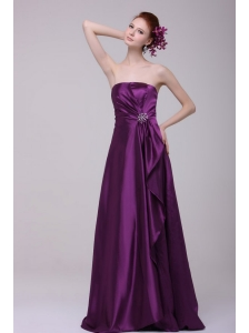 Simple Column Strapless Floor-length Taffeta Purple Beading Prom Dress