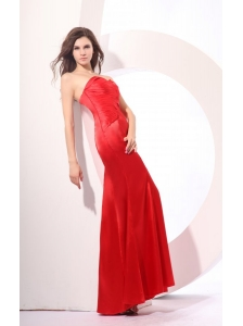 Simple Red Column Sweetheart Ruching Satin Long Prom Dress