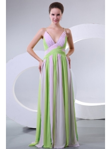 Spaghetti Straps Empire Multi-color Chiffon Prom Dress with Ruche