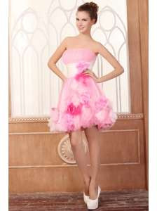 Strapless Short Hand Made Flowers Mini-length Pink Prom Dress