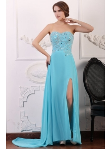 Sweetheart Beading and High Silt Chiffon Aqua Blue Prom Dress