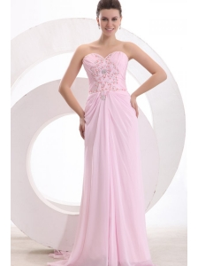 Sweetheart Empire Beaded Decorate Watteau Train Prom Dress in Baby Pink
