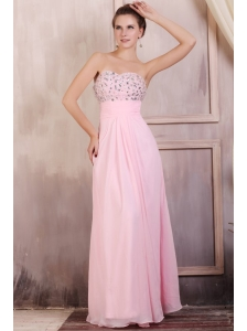 Sweetheart Empire Chiffon Beaded Decorate Prom Dress in Baby Pink