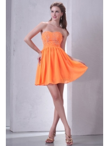 Sweetheart Empire Mini-length Beaded Decorate Prom Dress in Orange